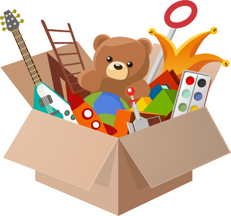 cardboard boxes: Toy Box, with Teddy Bear, Guitar, Ball, Watercolor, clown, robot. Vector illustration cartoon.