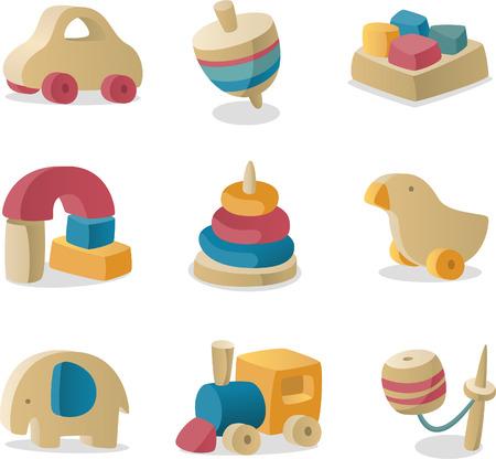 juguetes de madera: bebé retro de madera juega la colección icono.