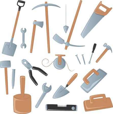 construction tool icon collection, with shovel, spade, axe, ax, scythe, saw, screw, hammer, Ilustração