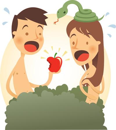 Adam and eve cartoon illustration Ilustracja