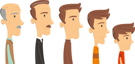 70s adult: Man through time, aging vector illustrator.