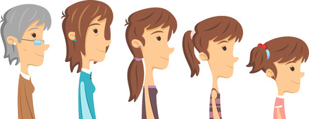 aging process: Ages of men portraying how a woman gets young or old. Illustration