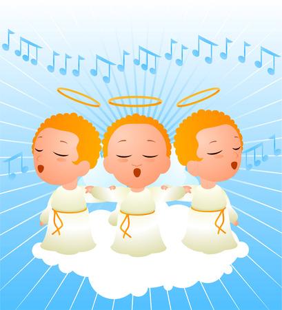 chorus: Angels singing in a chorus
