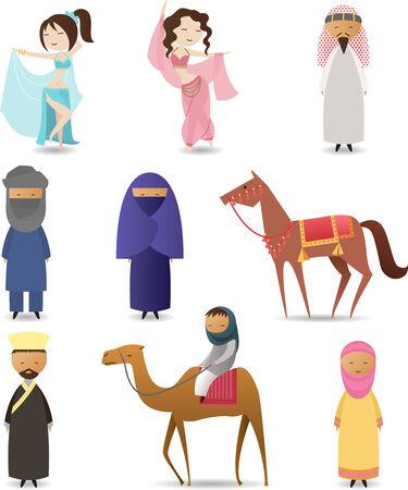 아랍 사람 전통 의류 세트 일러스트