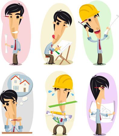 arquitecto caricatura: Arquitecto Arquitectura Profesional Ocupación en conjunto de acciones. Ilustración vectorial de dibujos animados.
