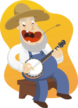 cowboy cartoon: old banjo player cartoon illustration