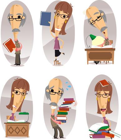 magazine stack: Bookman cartoon characters set