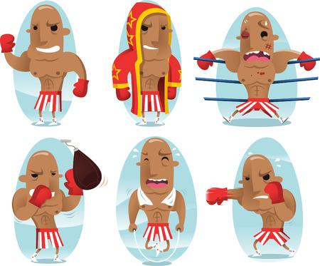 conquering adversity: Boxer champion cartoon character
