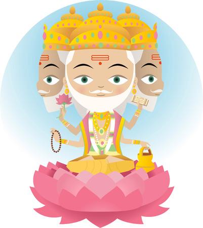 Hindu god Brahma illustration