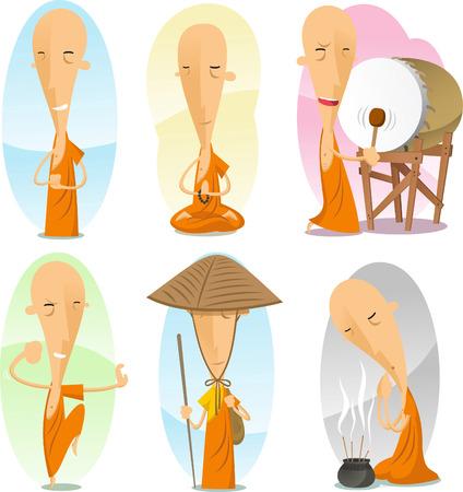 cartoon buddhist monk action set.