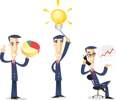 stock clip art icons: Businessman character set includes character with pie chart, with lightbulb, and discussiong stock market. Illustration