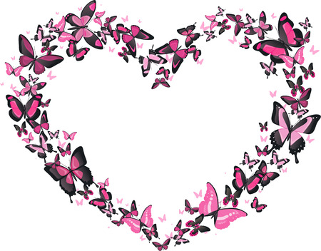 butterfly in flight: Heart shaped butterfly flight, pink and black butterflies vector heart shaped illustration. Romantic, classy.