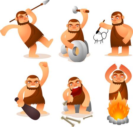 edad de piedra: Cartoon Caveman Set con 6 posiciones divertidas. Vectores