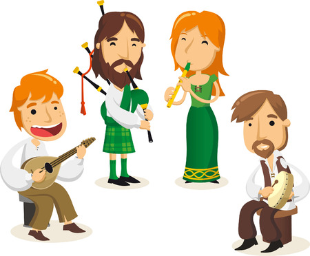 Celtic musicians cartoon illustrations 矢量图像