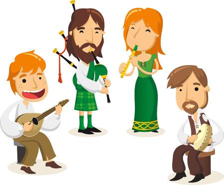 Celtic musicians cartoon illustrations Vettoriali