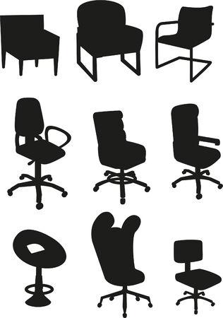 Ensemble chaise de bureau Vecteurs