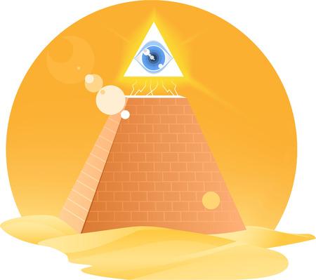 ojo de horus: Todo el ojo que Dios Horus pirámide de la religión, ilustración vectorial de dibujos animados.