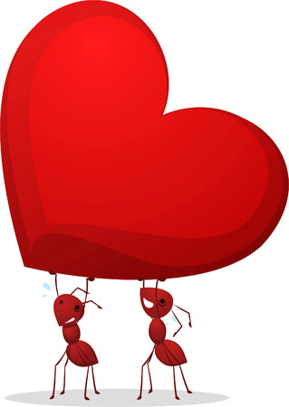 Love carrying heart ants vector illustration. Two Cute ants carrying an enormous heart. Çizim