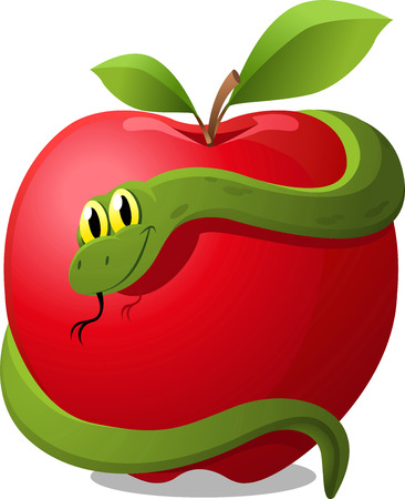 Apple with Snake Evil Temptation, with red apple and green snake vector illustration. Stock Illustratie