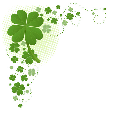 Four Leaf Clover Corner Decoration Pattern vector illustration. Vector