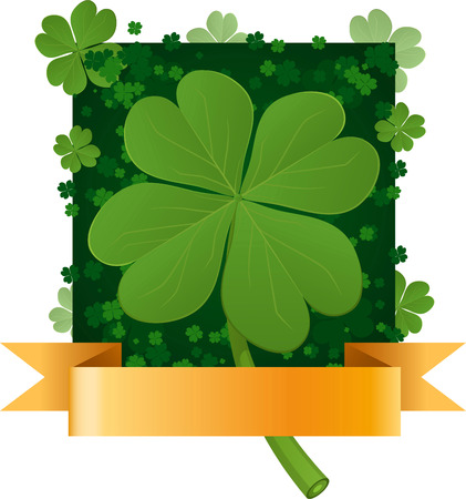 three leaved: Four leaf clover pattern with banner vector illustration.