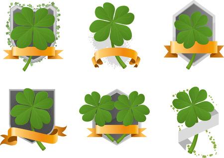 Four leaf clover set with banner space vector illustration cartoon. Vector