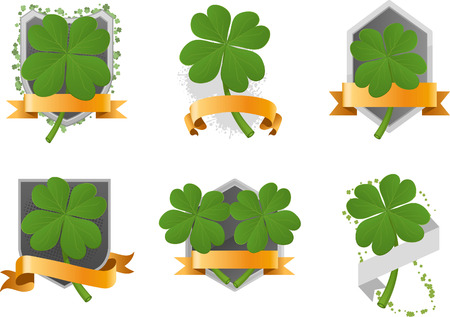 three leaved: Four leaf clover set with banner space vector illustration cartoon.