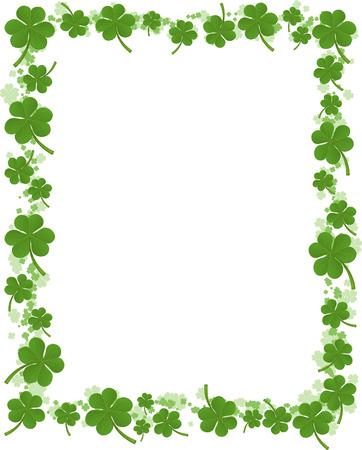 Three leafs clover frame pattern vector illustration. Illustration