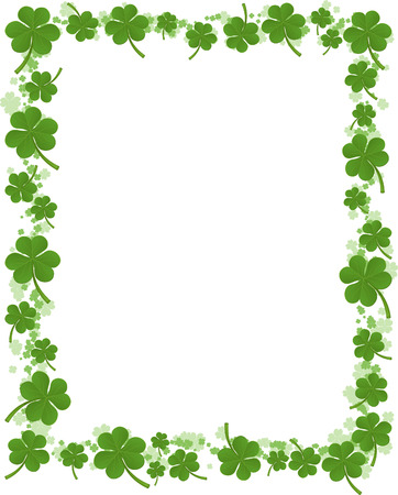 Three leafs clover frame pattern vector illustration. Ilustração