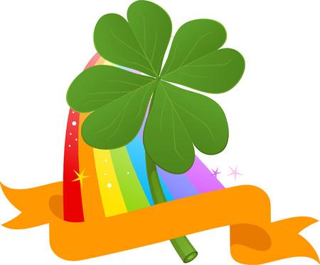 buena suerte: Cuatro Hojas del trébol en Multi color del arco iris patrón de bandera ilustración vectorial. Vectores