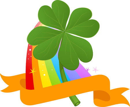 four leaved: Four Leafs Clover in Multi colored Rainbow pattern banner vector illustration.