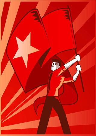 공산주의 깃발을 흔들며 남자 일러스트