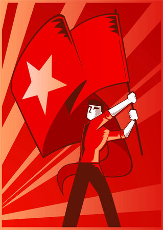 cold war: Man waving a communist flag