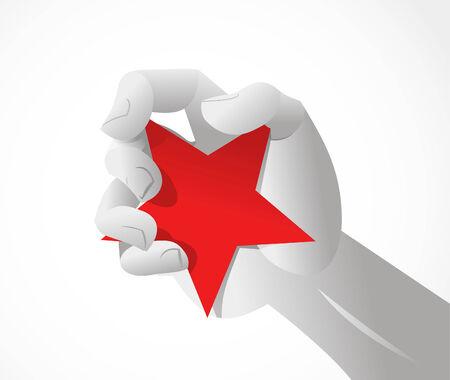 共産主義の赤い星のシンボルをつかむ手