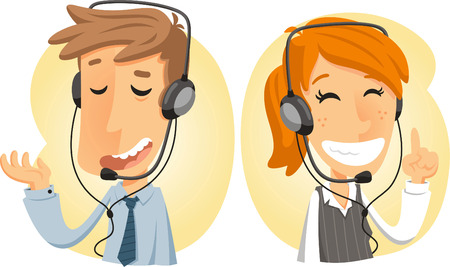 customer service phone: Costumer Service Call Center Operator On Duty, with both man and woman customer service vector illustration.