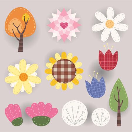 vegetation: Countryside rural vegetation fabric icons illustrations