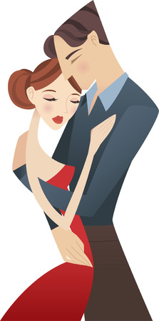 young couple hugging illustration