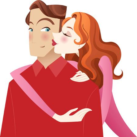 innamorati che si baciano: Giovane ragazza baciare il suo fidanzato