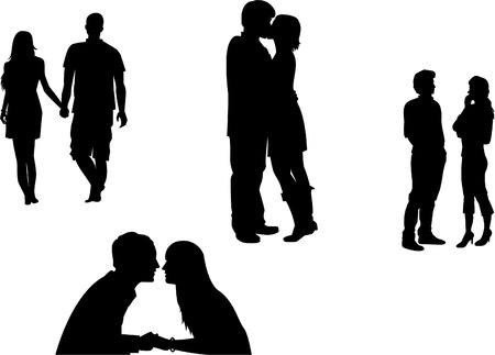 Love couples silhouettes