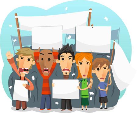 Demostrators deel te nemen aan een openbare protestmars illustratie Stock Illustratie