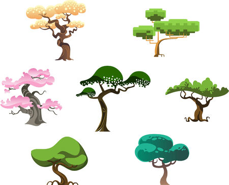 colection: Design trees collection set, vector illustration trees.