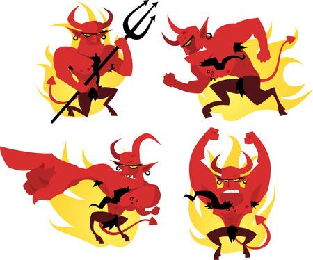 Cartoon devil action set Vector