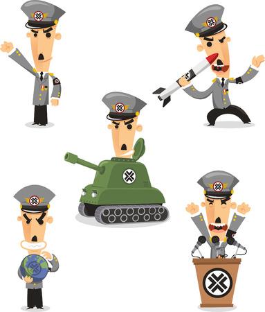 oligarchy: Dictator cartoon illustrations Illustration