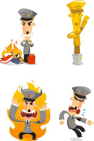 Dictator cartoon illustrations Çizim