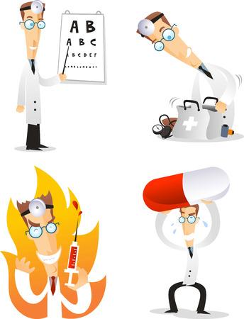 eye doctor: cartoon doctor illustration set