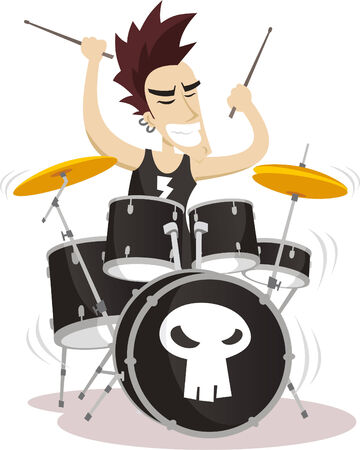 role model: Drummer playing drums illustration