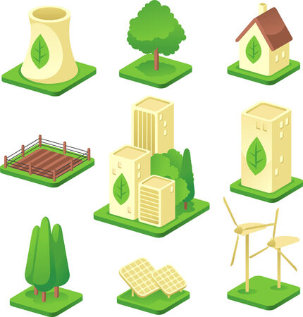 futuristic city: Ecologic city Green Environmental Built Structure Nature Energy Power Generation icons. Vector illustration. Illustration
