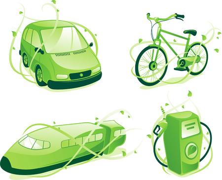 Ecologic transportation, includes green car,train,bicycle, gas pump.
