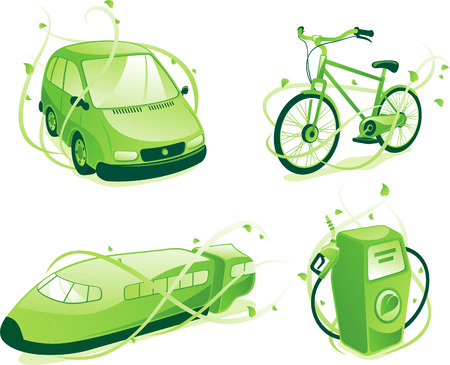 Ecologic transportation, includes green car,train,bicycle, gas pump.
