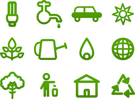 Simple Green icons, with ecologic light bulb, use of water, ecologic car fuel, bio energy use, watering can, fire, globe, ecology trash division, ecologic houses, recycle cycle. Vector illustration cartoon. Illustration